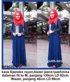 Baju Gamis Modern Terbaru - Detail produk model Gamis remaja blazer jeans: Bahan :kaos spandex rayon + jeans wash Kode : BF903570 Ukuran :Dalaman, panjang 139cm LD 82cm Ukuran :Lua