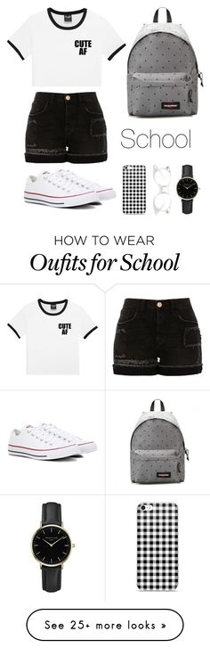 """School das"" by ritajeronimo on Polyvore featuring River Island, Converse, Eastpak and ROSEFIELD"