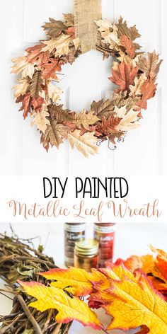 Painted dollar store leaves with metallic paint and liquid gold leaf for a beautiful fall wreath! via Metallic Leaf Wreath! Painted dollar store leaves with metallic paint and liquid gold leaf for a beautiful fall wreath! Diy Fall Wreath, Fall Diy, Fall Wreaths, Wreath Ideas, Ribbon Wreaths, Fun Diy Crafts, Fall Crafts, Liquid Gold Leaf, Painted Leaves