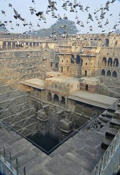Photo: #Chand_Baori in #Rajasthan, India, is an amazing architectural feat. Built almost 1000years ago, it is a step well, a huge water reservoir with a series of steps in the walls that access the stored water