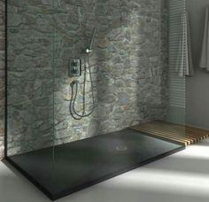 Douche italienne et mur faïence pierre