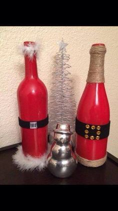 Santa Wine Bottles - Mr & Mrs Claus Wine Bottles - Christmas Wine Bottles - Christmas Centerpiece - Gift Idea for a Christmas Party Hostess by CrazyCraftersFun on Etsy