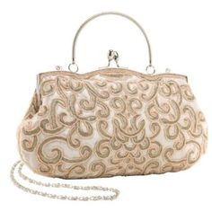 Wedding gift:Classic Champagne Baguette Style Embroidered Hand Seed Beaded Evening Clutch Purse Fashion Handbag w/ Detachable Chain