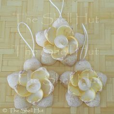 3 Seashell Snowflakes Christmas Ornament Shell Flower by shellhut