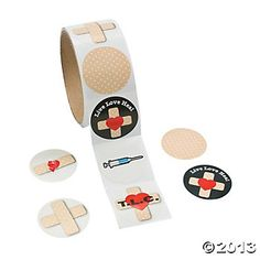 Bandage Roll Stickers - $2.50 per roll of 100 at Oriental Trading