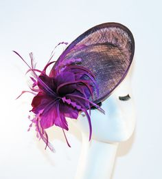 Purple Fascinator Hat with Feathers Purple by MadameMerrywidow