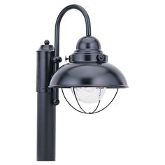 Sebring Black LED Outdoor Post Lantern With Clear Seeded Glass Sea Gull Lighting Post Moun