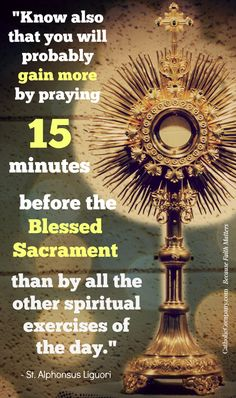 """""""Know also that you will probably gain more by praying fifteen minutes before the Blessed Sacrament than by all the other spiritual exercises of the day. True, Our Lord hears our prayers anywhere, for He has made the promise, 'Ask, and you shall receive,' but He has revealed to His servants that those who visit Him in the Blessed Sacrament will obtain a more abundant measure of grace."""" -St. Alphonsus Liguori"""