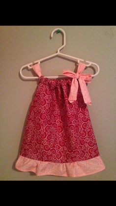 Pillow Case Dress  Size: 6 months  Peach and Red by Sewn4ACause