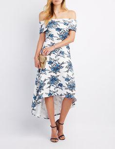 09620f2ff113 Floral Off-The-Shoulder High-Low Dress
