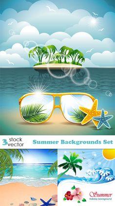 """Векторный клипарт, летние фоны, море и пляж """" Alldaydesing.net - Искусство графики, элементы дизайна"""