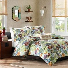 """MiZone Asha Duvet Cover Set - Full/Queen Sale $65.99 Original $109.99 With its fresh look, this MiZone Asha duvet cover set is sure to brighten any room. The soft microfiber cover features a contemporary paisley pattern. Coordinating shams and decorative pillow add the perfect finishing touches. Durable polyester construction ensures lasting quality. Includes: Full/Queen duvet cover, 2 standard shams & decorative pillow Duvet cover: 88"""" x 90"""" Oblong pillow: 10"""" x 18""""  Kohls.com"""