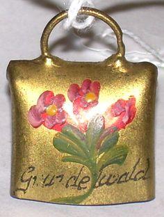 GRINDEWALD Switzerland Alps Swiss Cow Bell Pendant-Vintage Hand Painted Enamel Pink Gentian Flowers-Bavaria Black Forest Style Souvenir