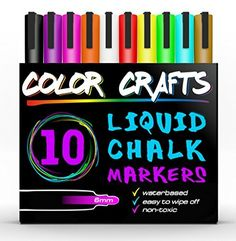 Amazing Liquid Chalk Markers  Genuine Artist Quality  Ultimate 10 Color Marker Paint Pen Set  Good For Kids Adults Art Windows Glass Menus Bistros Boards  6mm Reversible Tip 100 Guarantee >>> Check out this great product.