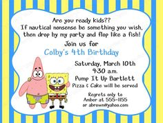 Personalized Spongebob Invitations From Invitationcardideas Combined With Attractive Accessories And Make Your Own Party Invitation 7 . Invitation Card Birthday, Personalized Birthday Invitations, Free Printable Birthday Invitations, Printable Party, Invitation Cards, Happy 8th Birthday, 6th Birthday Parties, Boy Birthday, Birthday Ideas