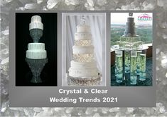 Crystal and clear: According to the fashion industry this will be one of the colors for weddings in 2021. Enjoy! Want to know more about wedding planning... Visit our website - www.ectaint.com Wedding Trends, Industrial Style, Wedding Colors, Wedding Planning, Ceiling Lights, Crystals, Cakes, Weddings, Website