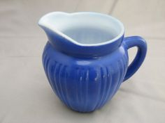 Lovely Miniature Pitcher Glass Creamer Blue Exterior White Interior
