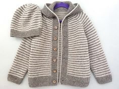 Toddler sweater & hat set. Hand knit cardigan with hood.