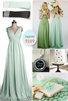 V-neck Long Mint Birdesmaid Dresses For Mint Black Weddings