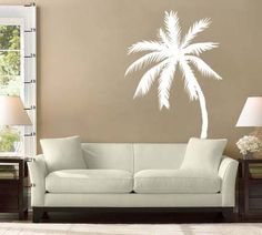 Palm Tree Vinyl Wall Decal Sticker x - Wandgestaltung Vinyl Wall Stickers, Wall Decal Sticker, Wall Vinyl, Palm Tree Decorations, Palm Tree Silhouette, Tree Decals, Tropical Decor, Tree Wall, Beach House Decor