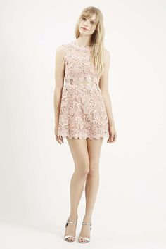 Photo 2 of PETITE Structured Lace Skater Dress