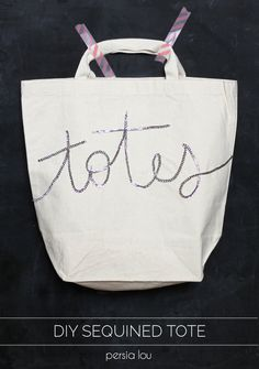 """Make your own sparkly, punny """"totes"""" tote bag! Super easy to make"""