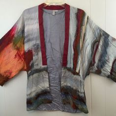 Bl^nk London XS S Cape CoverUp Cardigan Shrug Wrap Jacket Top Multi Soft Viscose #Blnk #Cardigan