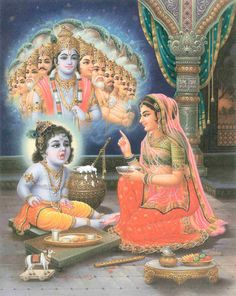 Mother Yasoda seeing the Universal Form in Baby Krishna's mouth