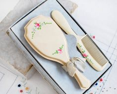 Vintage Baby Hair Brush & Comb Set in Celluloid. $32.00, via Etsy.