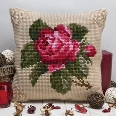 Rose pillow Previous Post Next Post Cross Stitch Cushion, Cross Stitch Rose, Cross Stitch Flowers, Cross Stitch Embroidery, Hand Embroidery, Cross Stitch Designs, Cross Stitch Patterns, Crochet Patterns, Mode Outfits