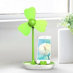 NAMEO DIY USB Fan with Mobile Phone holder USB or Battery Powered Desktop Mini Cooling Fan with Bracket Green *** Learn more by visiting the image link.