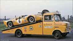 vintage truck with vintage racing car color matching Le Mans, Classic Race Cars, Classic Chevy Trucks, Vintage Race Car, Vintage Trucks, Sports Car Racing, Sport Cars, Auto Racing, Drag Racing