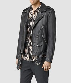 Mens Brivio Leather Biker Jacket • All Saints