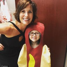 Princess Hot Dog was the hit of the dance recital at Holly Springs School of Dance in Holly Springs, North Carolina (above, with one of her dance instructors). 'A special thanks to her teachers and HSSOD for loving and accepting her in the moment' says Ainsley's dad