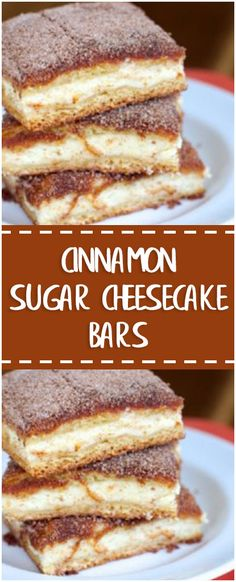 cinnamon Directions Preheat oven to In a bowl, beat cream cheese until smooth. Cheesecake Bars, Cheesecake Recipes, Dessert Recipes, Snack Recipes, Snacks, Just Desserts, Delicious Desserts, Yummy Food, Yummy Treats