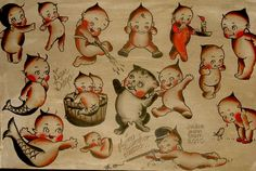The Kewpie doll tattoo symbolism is always portrayed as this free-loving infant. Tattoo symbolism helps us to us to put magic in our skin and effet our psychology. Vintage Designs, Vintage Art, Bert Grimm, Cupie Dolls, Kewpie Doll, Tattoo Flash Sheet, Doll Tattoo, Traditional Tattoo Flash, Good Old Times