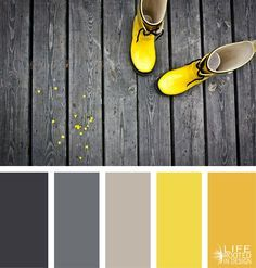 Color palettes, yellow color schemes, color palette gray, yellow co Bedroom Color Schemes, Colour Schemes, Color Combos, Color Harmony, Color Balance, Colour Pallette, Yellow Color Palettes, Bright Colour Palette, Neutral Palette