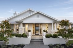 Embracing Modern Country Interior Design (and a Quieter Lifestyle) modern country interior design home hamptons style facade by metricon homes Facade Design, Exterior Design, House Design, Modern Country, Country Living, Modern Coastal, Coastal Style, Style At Home, Country Style Homes