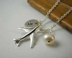 Personalized Airplane Necklace Sterling by ShinyLittleBlessings #aviationpilotetsy