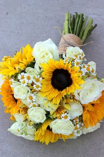 Summery Sunflowers Wedding Bouquet: Sunflowers, chamomile, yellow alstromeria, white roses with burlap and jute tie // Celebration Flair