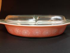 Pyrex Vintage Pink Daisy Divided Casserole Dish with Lid 1-1/2 Quart #Pyrex