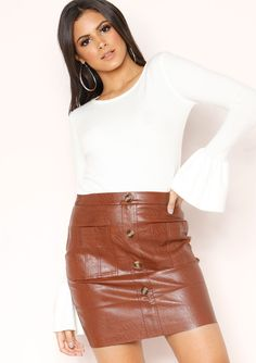 0ed00f0941fd Missyempire - Rita Brown Faux Leather Button Up Mini Skirt Roll Neck  Jumpers, Leather Material