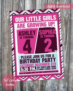 Little Girls Joint Birthday Party Invite - Digital Download.