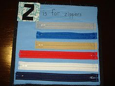 Z is for zippers quiet book page