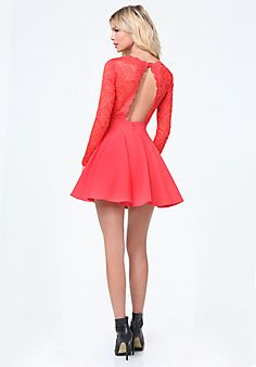 Lace+Backless+Flared+Dress