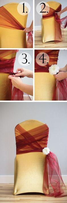 Tutorial: 6 Chair Sashes Created With Organza Rolls • DIY Weddings Magazine