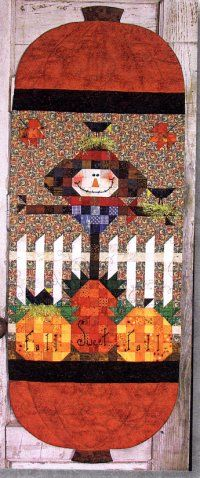 """Fall Sweet Fall Scarecrow Runner from Happy Hollow Designs Finished size: 18"""" x 48""""."""