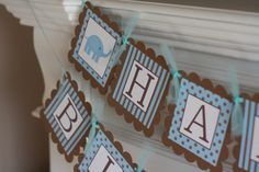 """Blue Brown Elephant """"Happy Birthday"""" Banner - Ask About our Party Pack Special - Matching Toppers, Door Sign, Year Banner Happy Birthday Elephant, Blue Birthday, Happy Birthday Banners, 1st Birthday Parties, Birthday Decorations, 1st Year, Party Packs, Blue Brown, Birthdays"""