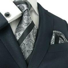 Landisun 82A Black Paisleys Mens Silk Tie Set: Tie+Hanky+Cufflinks Exclusive Sharp Dressed Man, Well Dressed Men, Moda Men, Gq Mens Style, Dressing Sense, Mens Silk Ties, Tie And Pocket Square, Suit And Tie, Gentleman Style