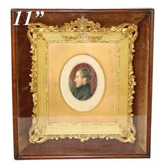 Antique Glass  and Brass Photo Frame.Portrait of child.End of the 19th century.